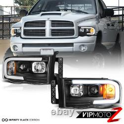 Pour 02-05 Dodge Ram Pickup 1500 2500 3500 Black Led Bar Projecteur Phare