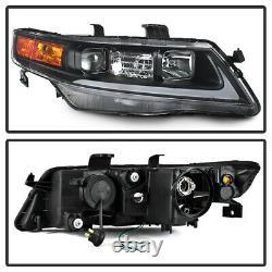 Pour 04-08 Acura Tsx Led Bar Tube Neon Black Projecteur Phare De Gauche + Lampe De Droite