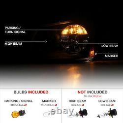 Pour 05-07 Dodge Magnum Se Srt Sxt Rt Sinister Black Smoke Headlights Assemblage