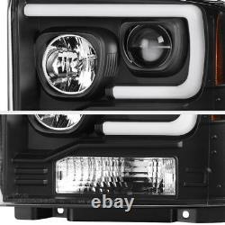 Pour 05-07 Ford F250 F350 F450 Lampe De Phare De Projecteur De Tube À Led Noir Superdust
