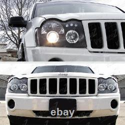 Pour 05-07 Jeep Grand Cherokee Wk Black Led Projecteur Lampe De Phare De Phare De Halo