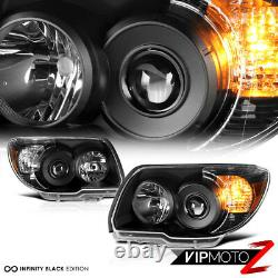 Pour 06-09 Toyota 4runner 4 Runner Trd Style Crystal Black Headlights Assemblage