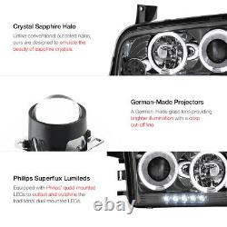 Pour 06-10 Chargeur Dodge Srt Se Sxt Daytona Dark Smoke Led Halo Phares Lampes