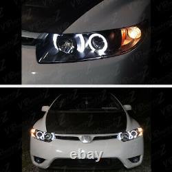 Pour 06-11 Honda CIVIC 2d Coupe Fg Black Led Projecteur D'oeil Halo Angel Phare