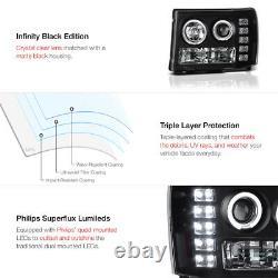 Pour 07-13 Gmc Sierra 1500 2500hd 3500hd Black Led Projecteur D'oeil Angel Phare