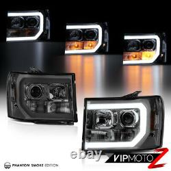 Pour 07-13 Gmc Sierra Smoke Oled Neon Tube Denali Style Remplacement Des Phares