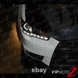 Pour 08-17 Lancer Evolution Evo Gsr Mr Black Led Strip Halo Projecteur Phare
