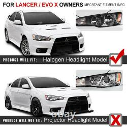 Pour 08-17 Mitsubishi Lancer Darkest Smoke Factory Style Phare Lampe Pair