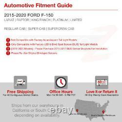 Pour 15-20 Ford F150 Blind Spot Sensor Models Red Led Light Bar Tail Lampe De Frein