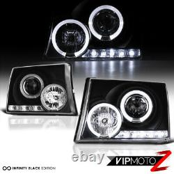 Pour 97-00 Toyota Tacoma Camion De Ramassage Black Halo Angel Eye Projector Headlight