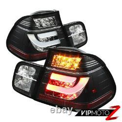 Pour 99-01 Bmw E46 Série 3 4dr Tail Light Black Led Strip Signal Paire De Frein L+r