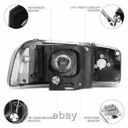 Pour 99-06 Gmc Sierra Yukon Black Led Tube Neon Drl Projecteur De Lampe Headlight L+r