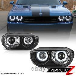 Pour Modèle De Halogen Pour 08-14 Dodge Challenger Ccfl Angel Eye Black Headlight
