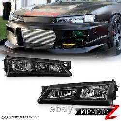 Pour Nissan 240sx S14 97-98 Black Crystal Headlight Jdm Silver Sr20 Ka24 Kouki
