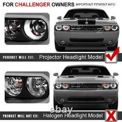 Pour Xenon Hid Modèle 2008-2014 Dodge Challenger Ccfl Halo Phares Noirs Pair