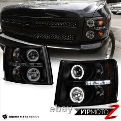 Sinister Black 2007-2013 Chevy Silverado 1500 2500hd 3500hd Halo Phare À Led