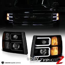 Sinister Black Darkest Fumée 07-13 Chevy Silverado Pickup Projecteurs Phares