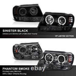 Smoke Sinister Black 99-04 Grand Cherokee Wj Wg Projecteur À Led Halo Phare